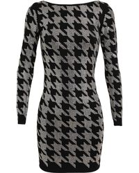 Balmain Dogtooth Embellished Stretchjersey Dress - Lyst