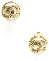 Chanel Preowned Gold Cc Faux Pearl Vintage Clip On Earrings - Lyst