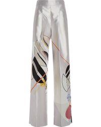 Bibhu Mohapatra - Bone Gropius Silk Print Trousers - Lyst