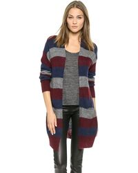 DKNY Striped Drop Shoulder Cardigan  Charcoalnavybordeaux - Lyst