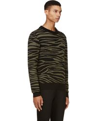 Balmain Black and Khaki Zebra Print Sweater - Lyst
