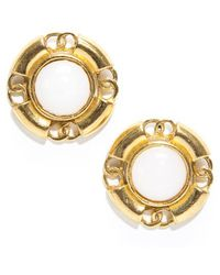 Chanel Preowned Vintage Gold Cc Button Clip On Earrings - Lyst