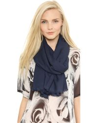Love Quotes - Eyelash Rayon Scarf - Peacoat - Lyst