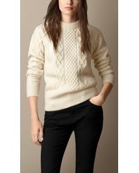 Burberry Wool Blend Cable Knit Sweater - Lyst