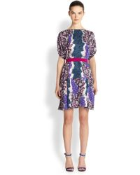 Peter Pilotto Belted Silk Blouson Dress - Lyst