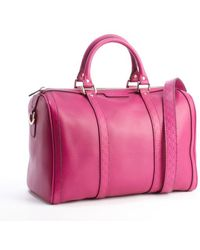 Gucci Magenta Leather Vintage Webb Ssima Accent Pinstriping Convertible Shoulder Bag - Lyst