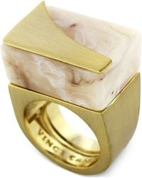 Vince Camuto - Gold-Tone Natural Horn Resin Block Ring - Lyst