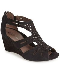 Earthies® Women'S 'Morolo' Studded Nubuck Leather Wedge Sandal - Lyst