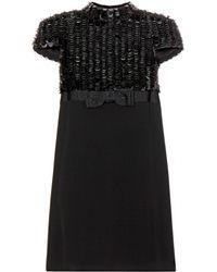 Saint Laurent Sequin and Crepe Dress - Lyst