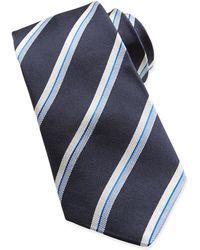 John Varvatos - Twin Stripe Textured Silk Tie Navy - Lyst