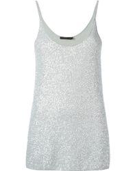 Donna Karan New York Metallic Sequinned Vest Top - Lyst