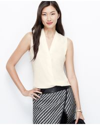 Ann Taylor Crepe Pleat Neck Shell - Lyst