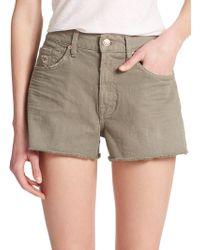7 For All Mankind Washed Twill Cut-Off Shorts khaki - Lyst