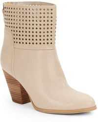 Nine West Hippy Chic Laser-Cut Leather Ankle Boots - Lyst