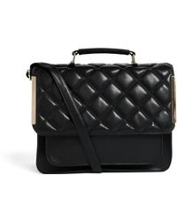 Asos Quilted Flap Satchel Bag with Metal Bars - Lyst