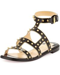 Christian Louboutin Sexystrapi Jazz Flat Red Sole Sandal black - Lyst