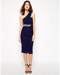 TFNC One Shoulder Pencil Dress With Embellished Waist - Lyst