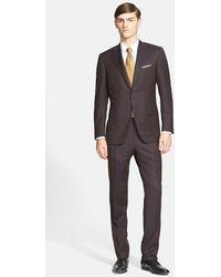 Canali Classic Fit Herringbone Wool Suit brown - Lyst
