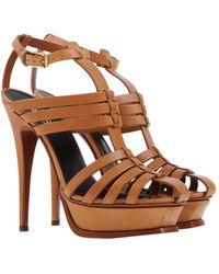 Yves Saint Laurent Rive Gauche High-Heel Leather Platform Sandals - Lyst