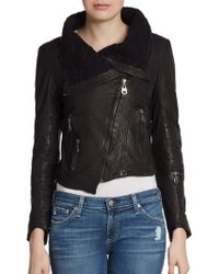 Doma Asymmetrical Cropped Leather Jacket - Lyst