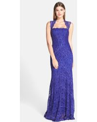 Nicole Miller 'Eva' Stretch Lace Column Gown blue - Lyst