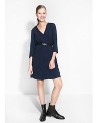 Mango Belt Crepe Dress - Lyst