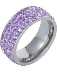 Aurora Flash   Stainless Steel Cubic Zirconia Violet Ring   Lyst