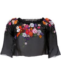 Alberta Ferretti Flower Embroidered Silk Top with 34 Sleeves - Lyst