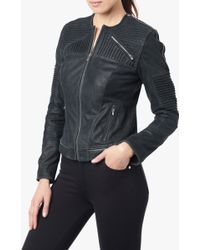 7 For All Mankind Pleated Panel Leather Moto Jacket - Lyst