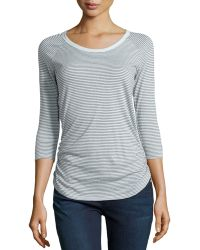 James Perse Contrast Striped Raglan Top - Lyst