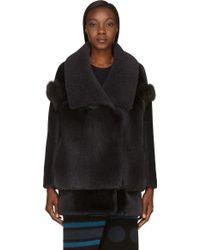 Burberry Prorsum Grey Shearling and Fox Fur Coat - Lyst