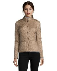 Burberry Brit Pale Fawn Quilted Nylon 'Kencott' Jacket - Lyst
