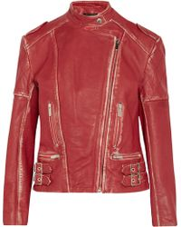 Christopher Kane Distressed Leather Biker Jacket - Lyst