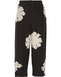 Alexander McQueen Floral-Print Silk Crepe De Chine Pants - Lyst