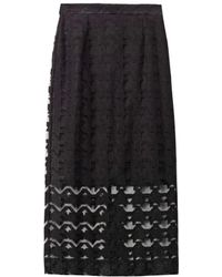 Freda Embroidered Houndstooth Pencil Skirt - Lyst