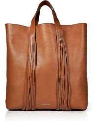 Vanessa Bruno Leather Tote with Fringe Embellishment - Lyst