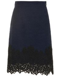 Rebecca Taylor Matelassé And Lace Pencil Skirt - Lyst