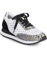 Loeffler Randall | Rio Perforated & Snake-embossed Leather Sneakers | Lyst