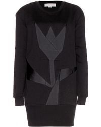 Stella McCartney Cottonblend Sweater Dress with Satin Appliqué - Lyst