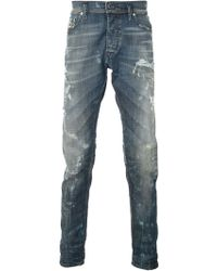 Diesel Blue Distressed Jeans - Lyst