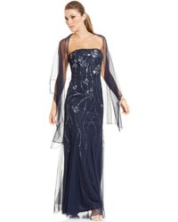 Adrianna Papell Strapless Sequin Gown and Shawl - Lyst