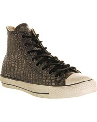 Converse John Varvatos Embossedleather High Tops Silver Embossed - Lyst
