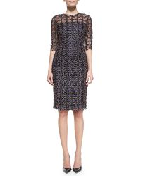 Mary Katrantzou Halfsleeve Geometric Lace Dress - Lyst