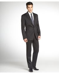 Dolce & Gabbana Grey Wool Twobutton Suit with Flat Front Pants - Lyst