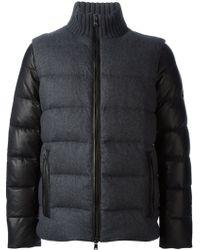 Michael Kors Leather Sleeved Padded Jacket - Lyst