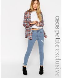 Asos Ridley Jeans In Forever Blue Wash With Thigh Rip - Lyst