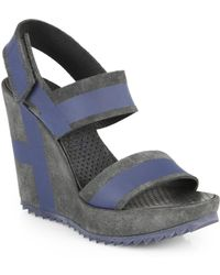 Pedro Garcia Striped Suede Wedge Sandals - Lyst