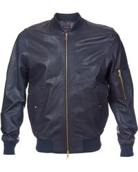 Paul Smith Leather Bomber Jacket - Lyst
