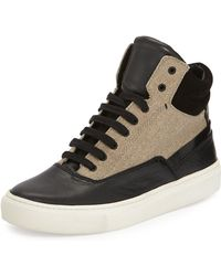 Vince Newman Leather & Canvas High-Top Sneaker black - Lyst