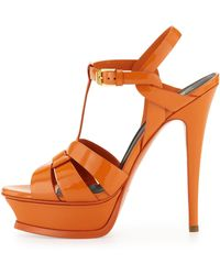Saint Laurent Tribute High-Heel Patent Sandal  - Lyst